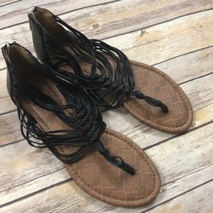 Lucky Brand Black Strappy Sandals 9